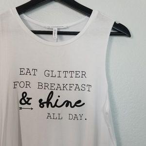 """Graphic Tee Shirt """"EAT GLITTER & SHINE"""" BCBG"""